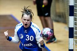 Anja Kastelic of ZRK Krka Novo Mesto celebrates during handball match between RK Olimpija and ZRK Krka Novo Mesto in Round #10 of National Youth League in Season 2020-21, on May 2, 2021 in Hala Tivoli, Ljubljana, Slovenia. Photo by Matic Klansek Velej / Sportida