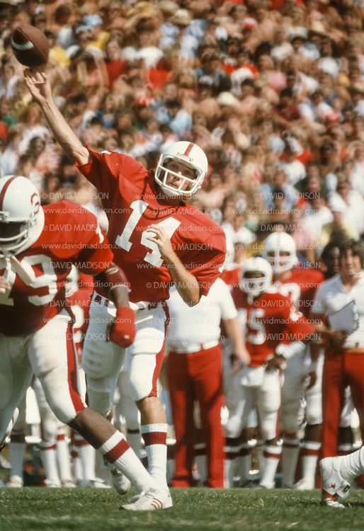 Turk Schonert #14 on Nov 17, 1979 during the  Stanford v Cal at Stanford Stadium in the 82nd Big Game.  Photo by David Madison www.davidmadison.com