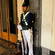 South America, Uruguay, Montevideo, Capitol building, guard in traditional uniform