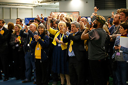 © Licensed to London News Pictures. 08/05/2015. SHEFFIELD, UK. Liberal Democrat supporters cheering for Nick Clegg as 2015 General Election results for Sheffield Hallam Constituency are being read at on Friday, 8 May 2015. Nick Clegg has been re-elected to Sheffield Hallam but Liberal Democrats suffered great losses across the UK. Photo credit: Tolga Akmen/LNP