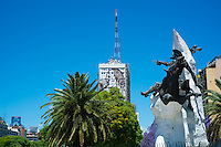 BUENOS AIRES - CIRCA NOVEMBER 2012: View of Monument to El Quijote, in 9 de Julio Ave. Circa November 2012. This avenue is known to be the widest avenue in the world, transversing the city downtowns is route of thousands of workers every day.