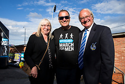 Jeff Stelling meets Bristol Rovers Director Ken Masters and his wife as the March For Men Day 2 ends at the Memorial Stadium, home of Bristol Rovers. Jeff is stopping at 40 football grounds whilst walking 400 miles in 15 days to St James' Park Newcastle to raise money for Prostate Cancer UK - Rogan Thomson/JMP - 03/06/2017 - Memorial Stadium - Bristol, England.