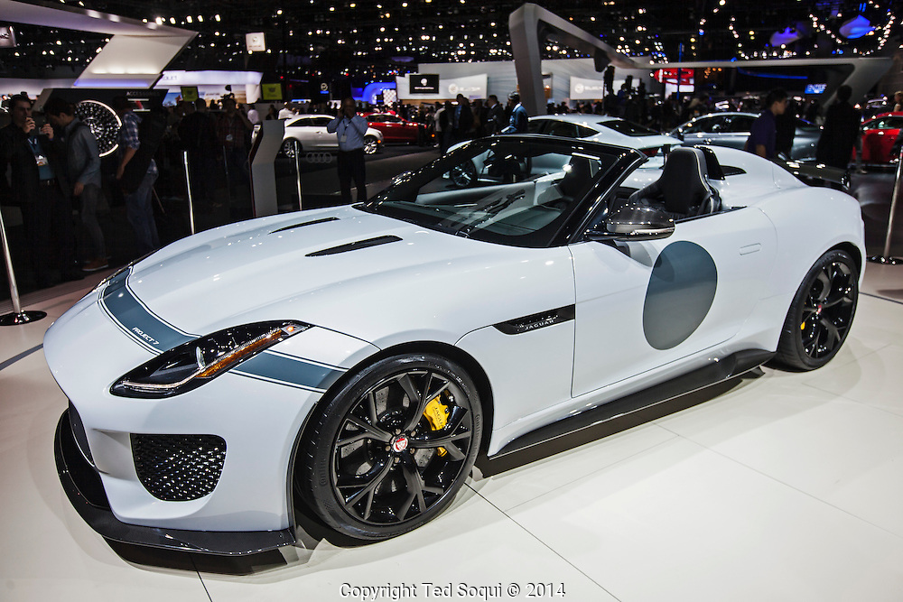 The 2014 Los Angeles Auto Show at the Los Angeles Convention Center.<br /> 2016 Jaguar Project 7 F Type. The engine is a 5.0 liter V8 that produces 575hp. The cost is $165K USD.
