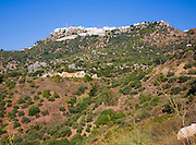Countryside and fields near the hilltop Andalusian village of Comares, Malaga province, Spain
