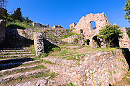 Mystras established in 1205 after the conquest of Constantinople during the Fourth Crusade by Prince William II Villehardouin & capital of the Byzantine Despotate of The Morea in the 14th & 15th centuries. Mystras was the last Byzantine stronghold surrendered by Demetrius Palaeologus to the Ottoman Sultan Mehmen II in 1460. Sparta, the Peloponnese, Greece. A UNESCO World Heritage Site. .<br /> <br /> Visit our GREEK HISTORIC PLACES PHOTO COLLECTIONS for more photos to download or buy as wall art prints https://funkystock.photoshelter.com/gallery-collection/Pictures-Images-of-Greece-Photos-of-Greek-Historic-Landmark-Sites/C0000w6e8OkknEb8 <br /> .<br /> <br /> Visit our BYZANTINE ART PHOTO COLLECTION for more   photos  to download or buy as prints https://funkystock.photoshelter.com/gallery-collection/Roman-Byzantine-Art-Artefacts-Antiquities-Historic-Sites-Pictures-Images-of/C0000lW_87AclrOk