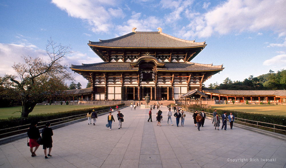Exterior view of Todaiji (temple), Nara, Japan. The Daibutsuden (Great Buddha Hall) is the largest wooden structure in the world, and houses the world's largest Daibutsu (Buddha statue)