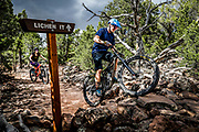 """SHOT 8/6/17 5:09:21 PM - Jake Miller of St. George, Utah makes his way over a set of rocks while mountain biking with friends in the Iron Hills Trail System in Cedar City, Utah. """"Lichen It,"""" is a beginner trail that is open to hikers, runners and cyclists of all experience levels. The second trail, """"Lava Flow,"""" is for mountain bikes only and is meant to offer a wider range of difficulty to entice more experienced riders onto the land. (Photo by Marc Piscotty / © 2017)"""
