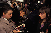 Standing rush-hour passengers are quashed together in a carriage on the London Underground during the 1990s, on 16th June 1994, in London, England.