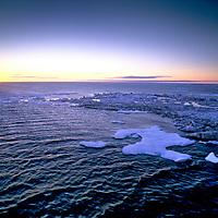 Arctic Ocean.  Sunset north of eastern Siberian Coast, Russia
