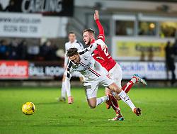 Falkirk's Lee Miller and Dunfermline's John Herron. Dunfermline 1 v 1 Falkirk, Scottish Championship game played 26/12/2016 at East End Park.