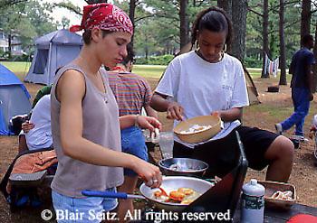 Camping, Outdoor Recreation, Mixed Race Teens, Food Prep