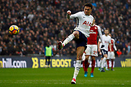 Dele Alli of Tottenham Hotspur takes a shot at goal. Premier league match, Tottenham Hotspur v Arsenal at Wembley Stadium in London on Saturday 10th February 2018.<br /> pic by Steffan Bowen, Andrew Orchard sports photography.