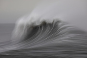 Long exposure, handheld waves on an extremely windy day at Hvalnes, south-east Iceland