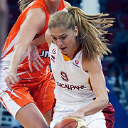 Galatasaray's Bahar CAGLAR (R) during their Euroleague woman Group A basketball match Galatasaray between UMMC Ekaterinburg at the Abdi Ipekci in Istanbul at Turkey on wednesday,October, 26, 2010. Photo by TURKPIX