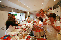 """Lenotre Ecole Culinaire, Paris,..short course - """"Return to the Market"""" with Chef Jacky Legras..tasting the sauce basquaise..photo by Owen Franken for the NY Times..July 12, 2007......."""