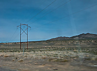 powerline crosses the desert along US 50 in Nevada