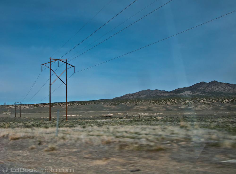 powerline crosses the desert along US 50 in Nevada
