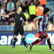 Trabzonspor's Gustavo COLMAN celebrate his goal during their UEFA Champions League group stage matchday 2 soccer match Trabzonspor between Lille at the Avni Aker Stadium at Trabzon Turkey on Tuesday, 27 September 2011. Photo by TURKPIX