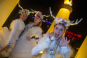 NO FEE PICTURES<br /> 31/12/15 Zoe Ramsey (right), Jamie Doherty and Esther Alleyne at the NYF Procession of Light at St Stephens Green, part of the New Years Festival in Dublin. nyf.com running from 30th Dec to 1st Jan in Dublin. Picture: Arthur Carron