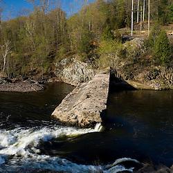 A breached dam on the Farmington River in Tariffville, Connecticut.  Tariffville Gorge.