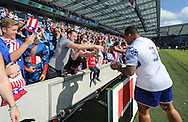 Samoa Anthony Perenise signing autographs after the Rugby World Cup 2015 match between Samoa and USA at the Brighton Community Stadium, Falmer, United Kingdom on 20 September 2015.