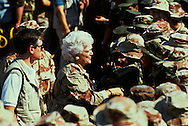 First lady Barbara Bush visits troops during the build up for the First Gulf War...Photograph by Dennis Brack, BB 29