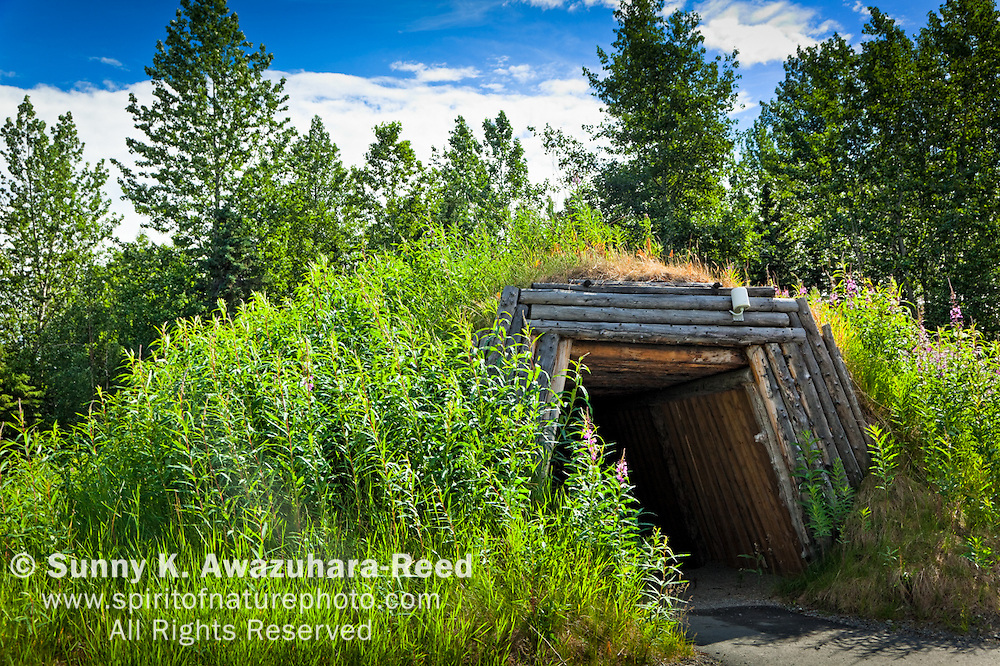 Community House at Inupiaq & St. Lawrence Island Yupik Village site at Alaska Native Heritage Center, Anchorage, Southcentral Alaska, Summer.