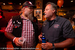 Milwaukee Mike and Steve Reed at the Cycle Source party at the Iron Horse Saloon during the 78th annual Sturgis Motorcycle Rally. Sturgis, SD. USA. Wednesday August 8, 2018. Photography ©2018 Michael Lichter.