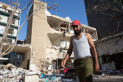 © Licensed to London News Pictures. 16/08/2020. Beirut, Lebanon. Yasser, from Hama, Syria, in his destroyed house in the Karantina district of Beirut following the huge explosion in Beirut Port on 4 August. He now lives in makeshift outdoor accommodation. Photo credit : Tom Nicholson/LNP