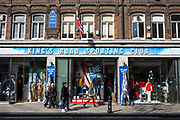 A street view of King's Road Sporting Club on King's Road, London, United Kingdom.  The iconic independent retailer was opened in 1993 and has been instrumental in launching many sporting brands in the UK and attracts many famous customers.  In 2013 it was announced that the shop may face closure.