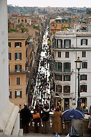 Rome Italy, Pedestrians walk on Via del Condotti viewed from above the Spanish Stepa and Piazza di Spagna. Via del Condotti is one of the best known fasion streets in Rome.