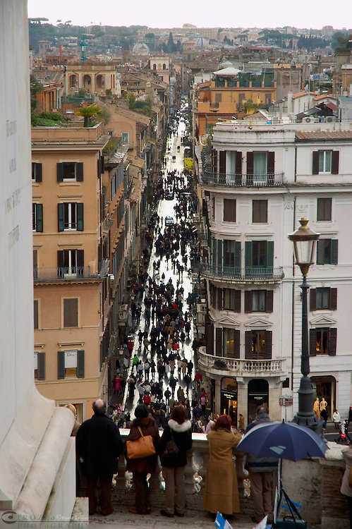 Rome Italy, Pedestrians walk on Via del Condotti viewed from above the Spanish Stepa and Piazza di Spagna.Via del Condotti is one of the best known fasion streets in Rome.