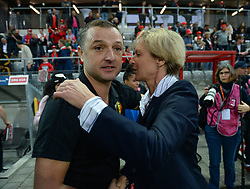 October 9, 2018 - Biel, SWITZERLAND - Belgium's head coach Ives Serneels and Switzerland's head coach Martina Voss-Tecklenburg pictured during a soccer game between Switzerland and Belgium's national team the Red Flames, Tuesday 09 October 2018, in Biel, Switzerland, the return leg of the play-offs qualification games for the women's 2019 World Cup. BELGA PHOTO DAVID CATRY (Credit Image: © David Catry/Belga via ZUMA Press)