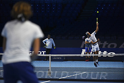 November 11, 2017 - London, United Kingdom - Rafael Nadal of Spain and Alexander Zverev of Germany (L) are pictured during a training session prior to the Nitto ATP World Tour Finals at O2 Arena, London on November 10, 2017. (Credit Image: © Alberto Pezzali/NurPhoto via ZUMA Press)