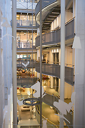 Interior of Stilwerk design shopping center in Hamburg Germany