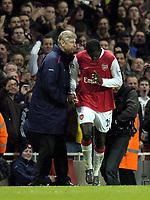 Photo: Olly Greenwood.<br />Arsenal v Tottenham Hotspur. Carling Cup Semi Final 2nd leg 31/01/2007. Arsenal's Emmanuel Adebayor celebrates scoring with Arsene Wenger