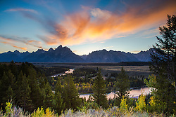"""Autumn sunset, Snake River Overlook, Grand Tetons, Grand Teton National Park<br /> <br /> For production prints or stock photos click the Purchase Print/License Photo Button in upper Right; for Fine Art """"Custom Prints"""" contact Daryl - 208-709-3250 or dh@greater-yellowstone.com"""