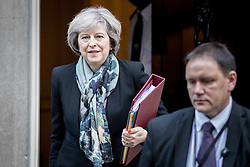 © Licensed to London News Pictures. 16/11/2016. London, UK. Prime Minister Theresa May leaves 10 Downing Street this morning to go to Prime Minister's Questions in Parliament. Photo credit : Tom Nicholson/LNP