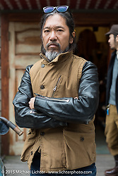 """""""Sushi"""" Atsushi Yasui at his Freewheelers And Company shop before a ride with friends around Tokyo, Japan. December 8, 2015.  Photography ©2015 Michael Lichter."""