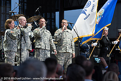 Stage ceremony at the Buffalo Chip honoring veterans and active military before the Miranda Lambert concert on Thursday of the annual Sturgis Black Hills Motorcycle Rally. SD, USA. Thursday, August 11, 2016. Photography ©2016 Michael Lichter.