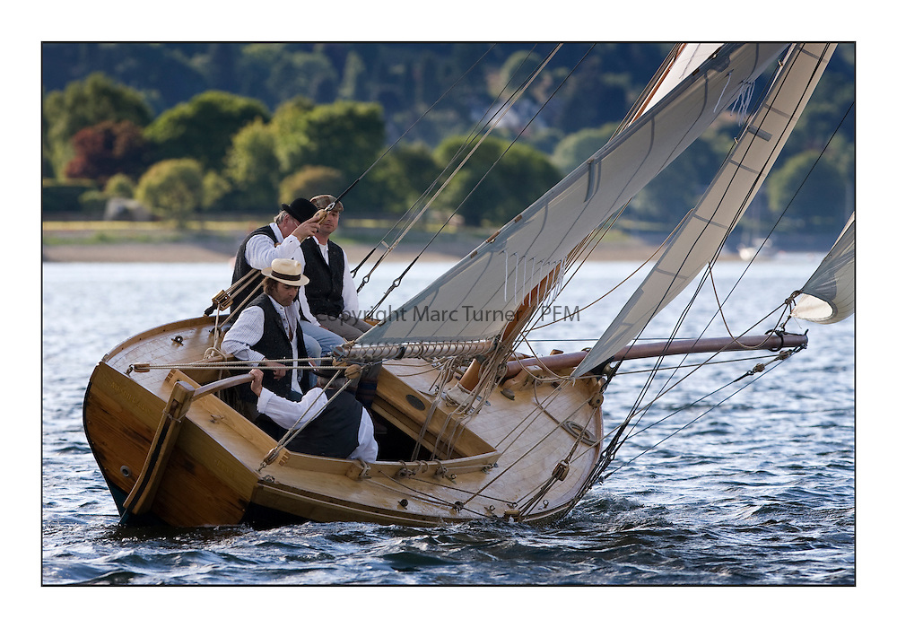 Ayrshire Lass 1887 Gaff Cutter at the Lay day at Rhu...* The Fife Yachts are one of the world's most prestigious group of Classic  yachts and this will be the third private regatta following the success of the 98,  and 03 events.  ..Marc Turner / PFM Pictures.