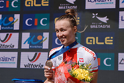 Bronze medal for Kasia Niewiadoma (POL) at the 2020 UEC Road European Championships - Elite Women Road Race, a 109.2 km road race in Plouay, France on August 27, 2020. Photo by Sean Robinson/velofocus.com