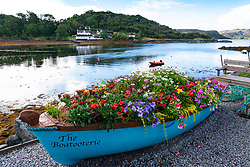 Seafront with landscaping and flowers in village of  Charlestown on Gairloch, Wester Ross, Scotland, UK