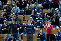 Fans of Krka during basketball match between KK Krka Novo mesto and Pinar Karsiyaka (TUR) in 5th Round of EuroChallenge 2013 on December 4, 2012 in Arena Leon Stukelj, Novo mesto, Slovenia. Krka defeated Pinar Karsiyaka 80-74. (Photo By Vid Ponikvar / Sportida)