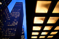 Corporate skyscrapers along Avenue of the Americas in New York City. <br /> <br /> Photo by Robert Caplin