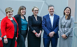 © Licensed to London News Pictures. 18/01/2020. Liverpool, UK. (L-R) British Labour leadership candidates, Emily Thornberry, Jess Phillips, Rebecca Long-Bailey, Keir Starmer and Lisa Nandy pose prior to setting out their vision for the party during the Leader hustings event in Liverpool. Photo credit: Ioannis Alexopoulos LNP