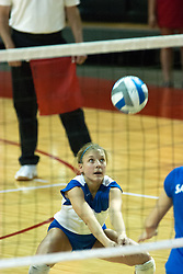 26 September 2006: Billikens libero Whitney Behrens digs out a server. The match was tough and it took the Illinois State Redbirds 5 games to defeat the St. Louis University Billikens. The match took place at Redbird Arena on the campus of Illinois State University in Normal Illinois.