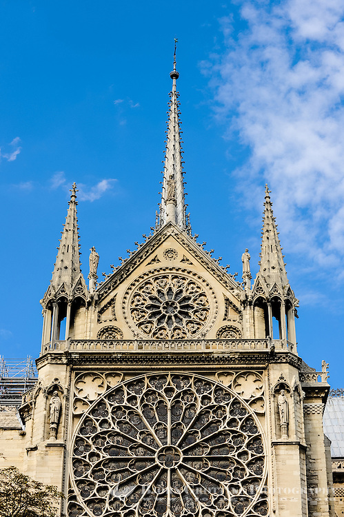 Paris, France. View from a boat on the river Seine. Passing the Notre Dame cathedral, one of the largest churches in the world.