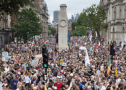 © Licensed to London News Pictures. 26/06/2021. London, UK. Anti-lockdown protesters surround the Cenotaph as they fill Whitehall outside the entrance to Downing Street in central London. Various groups are marching in central London today calling for freedom and an end to lockdown regulations. Photo credit: Peter Macdiarmid/LNP