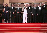 John Goodman, Garrett Hedlund, Ethan Coen, Oscar Isaac, Carey Mulligan, Justin Timberlake, Joel Coen, on the red steps at the The Coen brother's new film 'Inside Llewyn Davis' red carpet gala screening at the Cannes Film Festival Sunday 19th May 2013